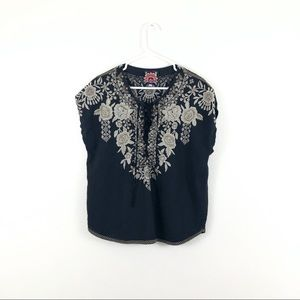 Johnny Was Black Linen Tan Floral Embroidered Top